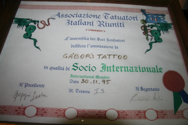 Member of the Italian Tattooist Association since 1995