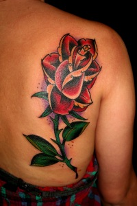 Freehand Oldschool Rose Tattoo