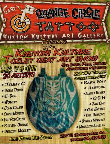 Kustom Kulture Toilet Seat Art Show by Orange Circle Tattoo & Art Gallery